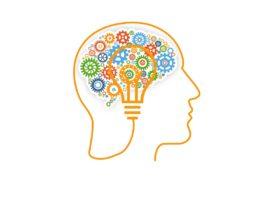 Kontur głowy, w środku koła zębate i żarówka symbolizujące jak działą mózg
