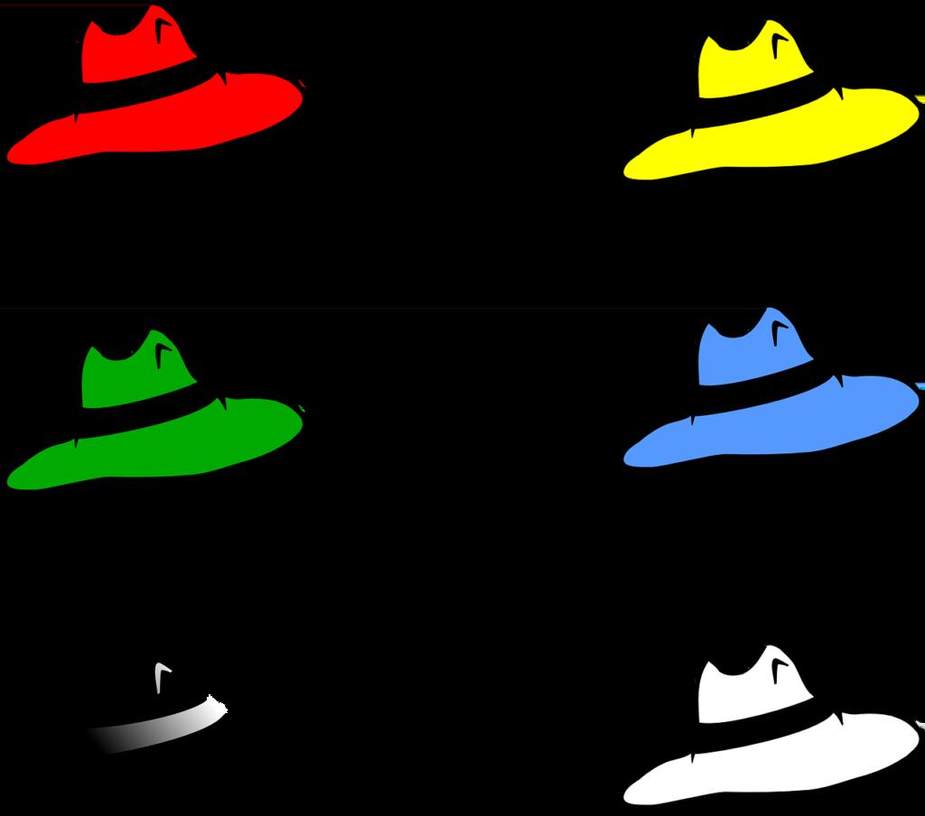 Sześć kapeluszy: czerwony, żółty, zielony, niebieski, czarny i biały