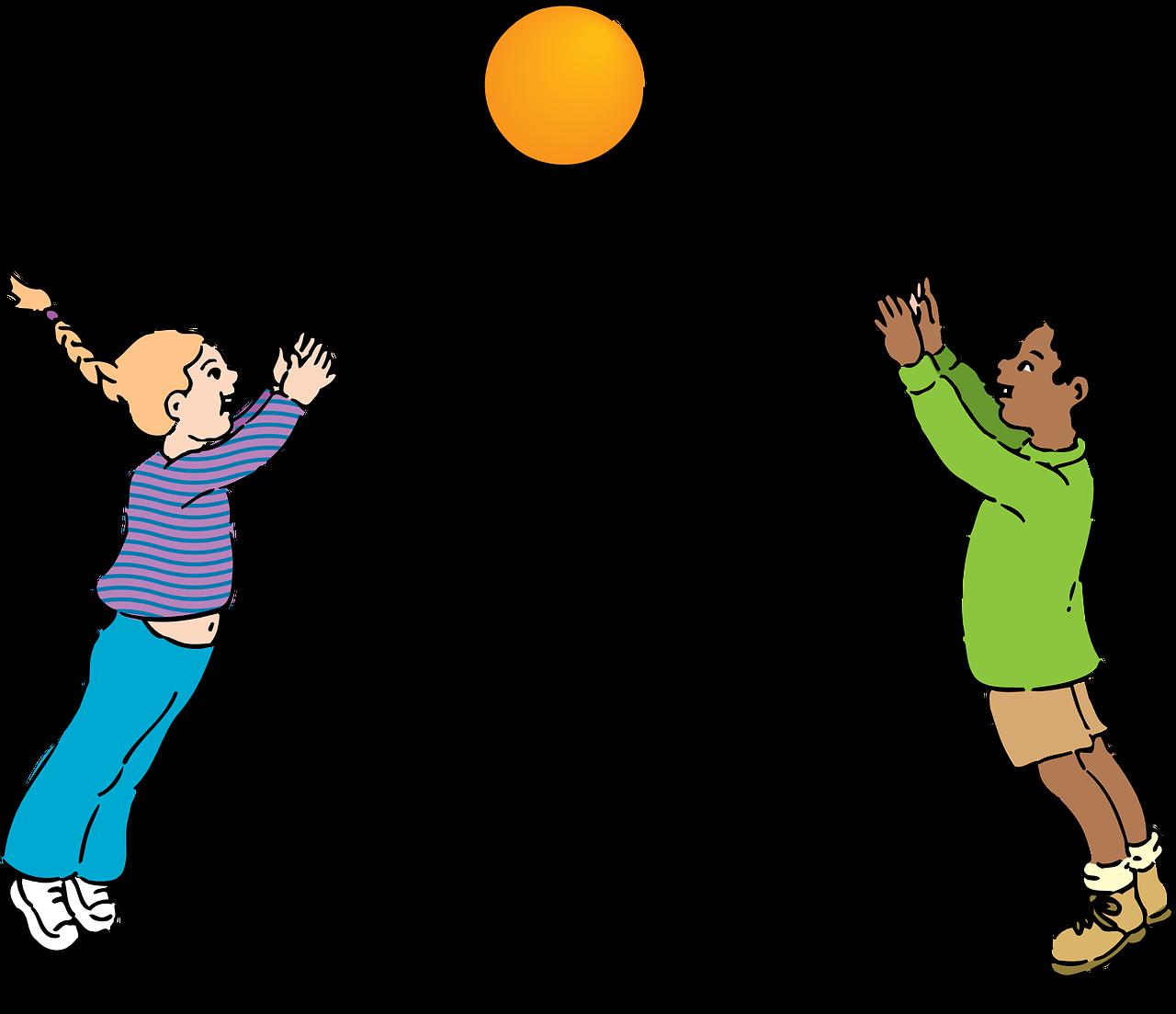 Chłopiec i dziewczynka odbijają piłkę