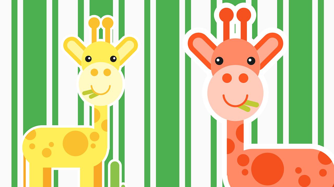 Dwie wesołe żyrafy w kolorze pomarańczowym i żółtym